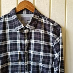 Vince Long Sleeve Flannel Button Down Large
